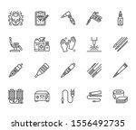 tattoo  piercing equipment flat ... | Shutterstock .eps vector #1556492735