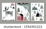 vector set of greeting cards ... | Shutterstock .eps vector #1556501222