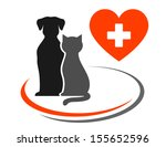 veterinary icon with red heart, cross and pets