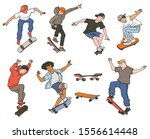 cartoon teenage boys jumping on ... | Shutterstock .eps vector #1556614448