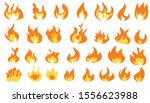 collection of hot flaming... | Shutterstock .eps vector #1556623988