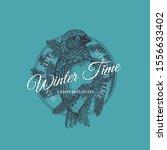 vintage label with ink hand... | Shutterstock .eps vector #1556633402