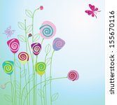 floral card with copy space | Shutterstock . vector #155670116