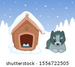 puppy and doghouse. dog sitting ... | Shutterstock .eps vector #1556722505