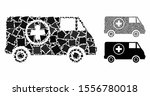 ambulance car mosaic of rough... | Shutterstock .eps vector #1556780018