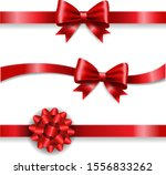 silk red bow and white... | Shutterstock .eps vector #1556833262