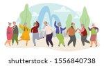 old people dance flat vector... | Shutterstock .eps vector #1556840738