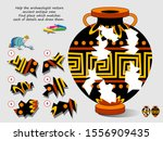 Stock vector logic puzzle game for children help archaeologist restore ancient antique vase find place which 1556909435