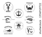 seafood labels collection.... | Shutterstock .eps vector #1556919722