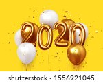 happy new year 2020. realistic... | Shutterstock .eps vector #1556921045