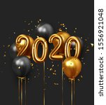 happy new year 2020. realistic... | Shutterstock .eps vector #1556921048