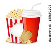 popcorn in cardboard box with... | Shutterstock .eps vector #155692106