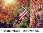 Patriotic American Flag Waving...