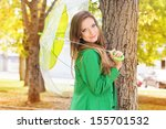 pretty girl with transparent...   Shutterstock . vector #155701532
