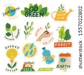 set of ecology sticker with... | Shutterstock .eps vector #1557022802