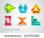 vector origami icons. design... | Shutterstock .eps vector #155702282