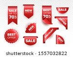 red ribbon of price tag  sale... | Shutterstock .eps vector #1557032822