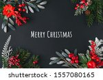 christmas dark background made... | Shutterstock . vector #1557080165