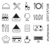 restaurant icons. line with... | Shutterstock .eps vector #1557197108