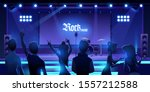 people at stage waiting rock... | Shutterstock .eps vector #1557212588