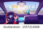 driver hands on car steering...   Shutterstock .eps vector #1557213008