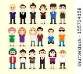 Set Of Different Pixel People ...