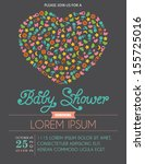 Heart Shape Baby Shower Invitation Card in Vector - stock vector