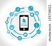 social network icons over blue... | Shutterstock .eps vector #155728022