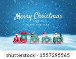 cute wooden train in snow... | Shutterstock . vector #1557295565