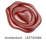 3d illustration Wax seal with heart stamp - stock photo