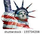 statue of liberty with flag of...   Shutterstock . vector #155734208