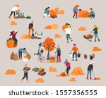 people gathering crops or... | Shutterstock .eps vector #1557356555
