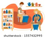 people create a vase on a... | Shutterstock .eps vector #1557432995