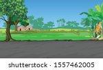 asian village scene   vector... | Shutterstock .eps vector #1557462005