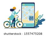 bicycle rental mobile app. bike ...   Shutterstock .eps vector #1557475208