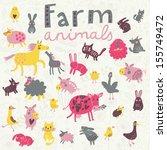 Funny Farm Animals In Vector...