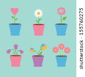 set of six flowers in pots.... | Shutterstock .eps vector #155760275