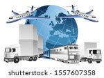 global logistics concept  3d... | Shutterstock .eps vector #1557607358