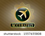 golden emblem with plane icon... | Shutterstock .eps vector #1557655808