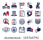 Politics, Voting and elections icons - color vector icon set