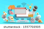 the computer is surrounded by... | Shutterstock .eps vector #1557703505