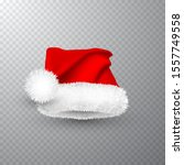 realistic red santa claus hat...   Shutterstock .eps vector #1557749558