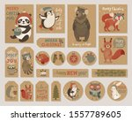 christmas kraft paper cards and ... | Shutterstock .eps vector #1557789605