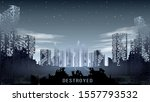 panorama of the destroyed city... | Shutterstock .eps vector #1557793532
