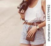 Girl With Vintage Retro Camera...