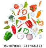 colorful fresh vegetables with... | Shutterstock . vector #1557821585