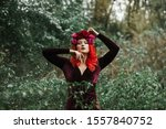 Girl With Bright Red Hair With...