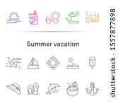 summer vacation line icon set.... | Shutterstock .eps vector #1557877898
