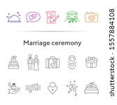marriage ceremony line icons.... | Shutterstock .eps vector #1557884108