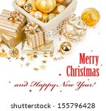 golden christmas balls and... | Shutterstock . vector #155796428